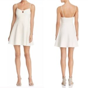 LIKELY Ivory Cutout Keyhole Fit and Flare Dress